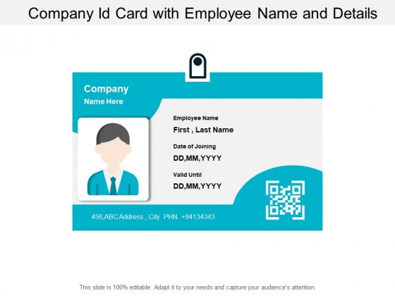 Company Id Card With Employee Name And Details Ppt PowerPoint Presentation Infographics Background Designs