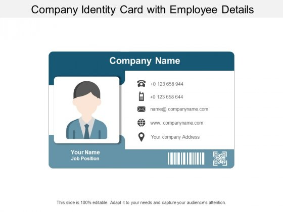 Company Identity Card With Employee Details Ppt PowerPoint Presentation Slides Demonstration