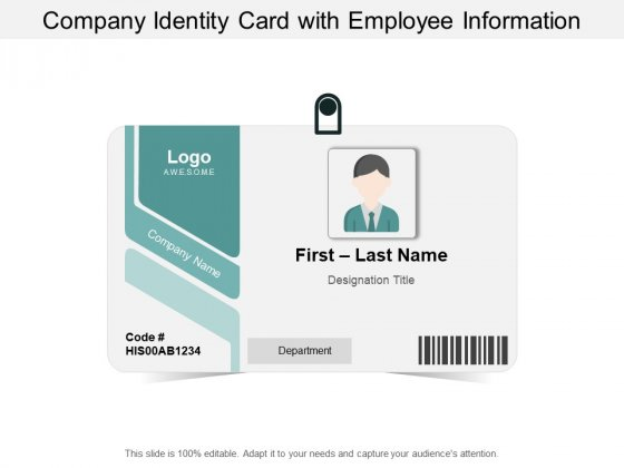 Company Identity Card With Employee Information Ppt PowerPoint Presentation File Example File