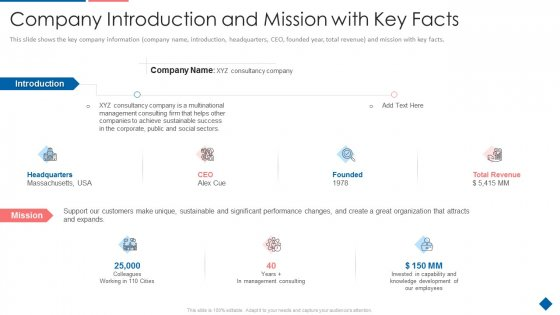 Company_Introduction_And_Mission_With_Key_Facts_Elements_PDF_Slide_1