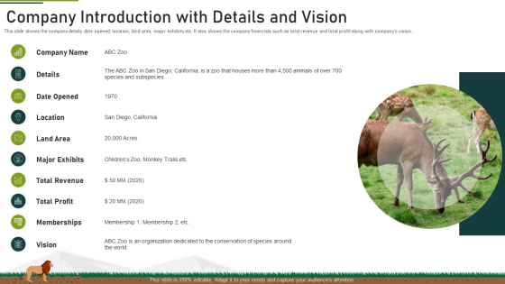 Company Introduction With Details And Vision Ppt Icon Design Ideas PDF