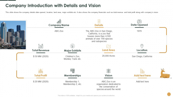 Company Introduction With Details And Vision Ppt Show Background Designs PDF