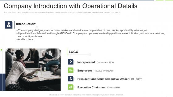 Company Introduction With Operational Details Inspiration PDF
