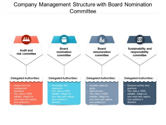 Company Management Structure With Board Nomination Committee Ppt PowerPoint Presentation Icon Pictures PDF