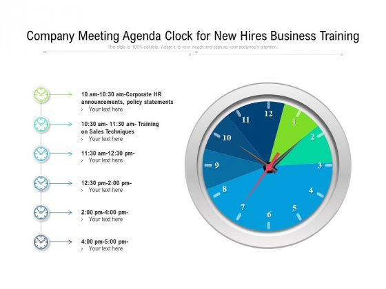 Company Meeting Agenda Clock For New Hires Business Training Ppt PowerPoint Presentation Gallery Templates PDF
