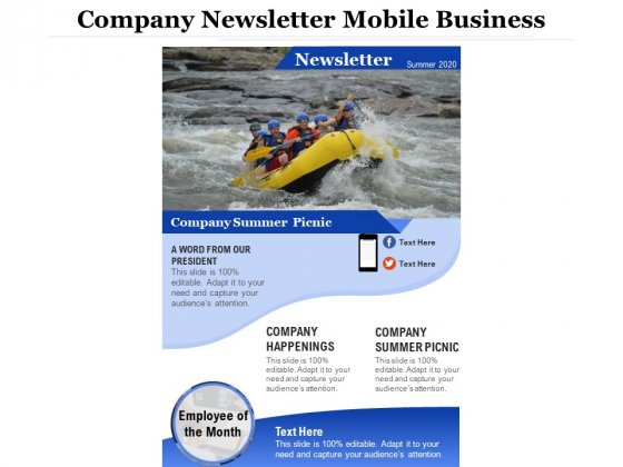 Company Newsletter Mobile Business Ppt PowerPoint Presentation Gallery Summary PDF