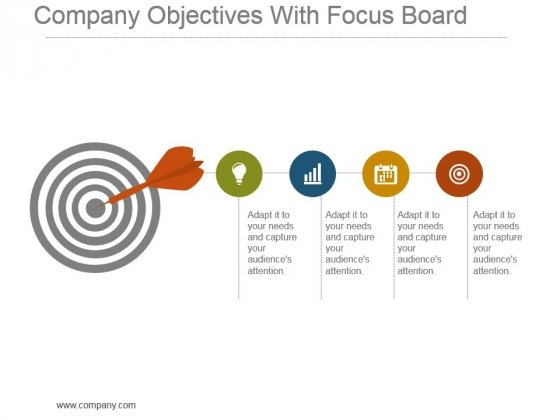 Company Objectives With Focus Board Powerpoint Slide Influencers