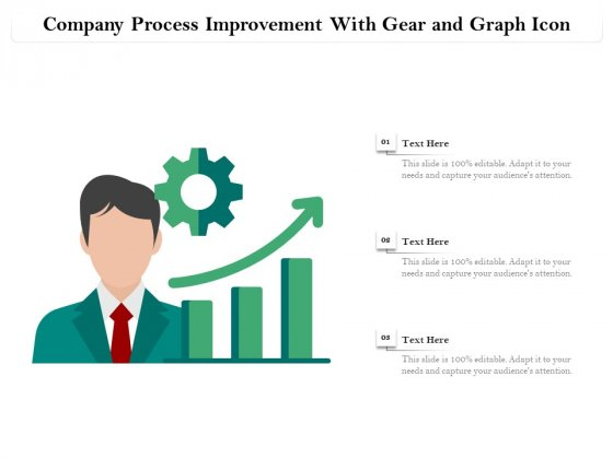 Company Process Improvement With Gear And Graph Icon Ppt PowerPoint Presentation Gallery Templates PDF