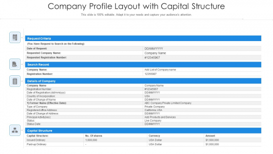 Company Profile Layout With Capital Structure Ppt Portfolio Vector PDF