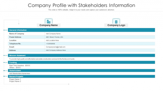 Company Profile With Stakeholders Information Ppt Infographic Template Format Ideas PDF