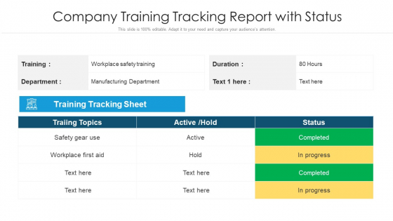Company Training Tracking Report With Status Ppt Icon Background PDF