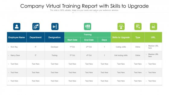 Company Virtual Training Report With Skills To Upgrade Ppt Inspiration Graphics PDF