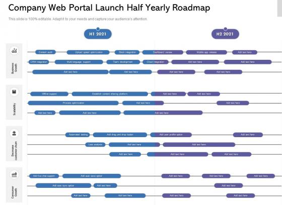 Company Web Portal Launch Half Yearly Roadmap Information