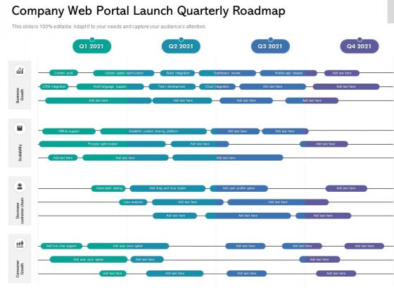 Company Web Portal Launch Quarterly Roadmap Inspiration