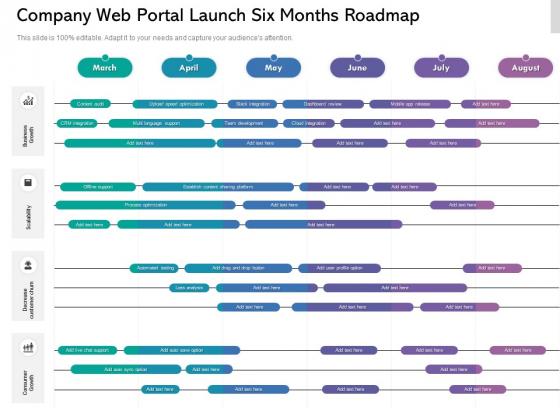 Company Web Portal Launch Six Months Roadmap Template