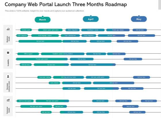Company Web Portal Launch Three Months Roadmap Download
