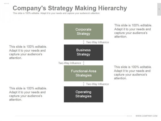 Companys Strategy Making Hierarchy Ppt PowerPoint Presentation Examples