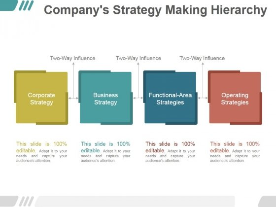 Companys Strategy Making Hierarchy Ppt PowerPoint Presentation Infographics
