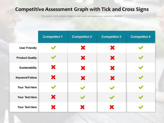 Competitive Assessment Graph With Tick And Cross Signs Ppt PowerPoint Presentation Gallery Clipart Images PDF