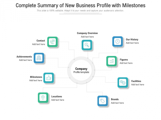 Complete Summary Of New Business Profile With Milestones Ppt PowerPoint Presentation File Summary PDF