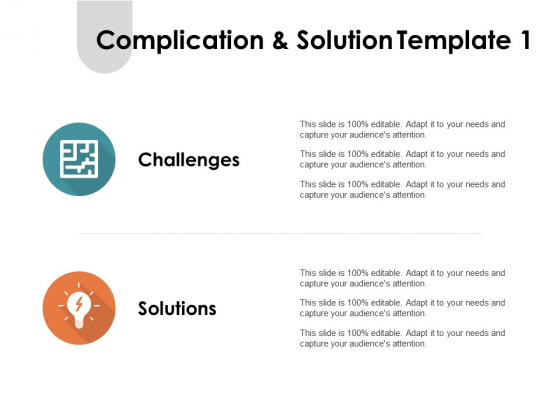 Complication And Solution Marketing Ppt PowerPoint Presentation Icon Maker