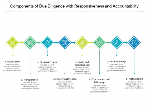 Components Of Due Diligence With Responsiveness And Accountability Ppt PowerPoint Presentation File Graphics Example PDF