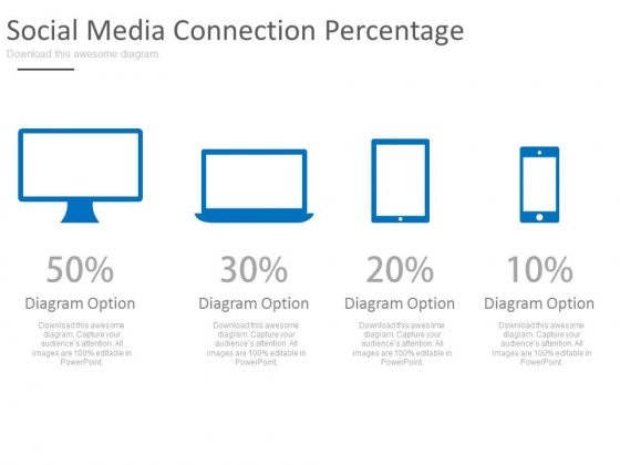 Computer Devices With Percentage Values Powerpoint Slides