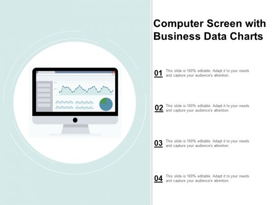 Computer Screen With Business Data Charts Ppt Powerpoint Presentation Show Vector