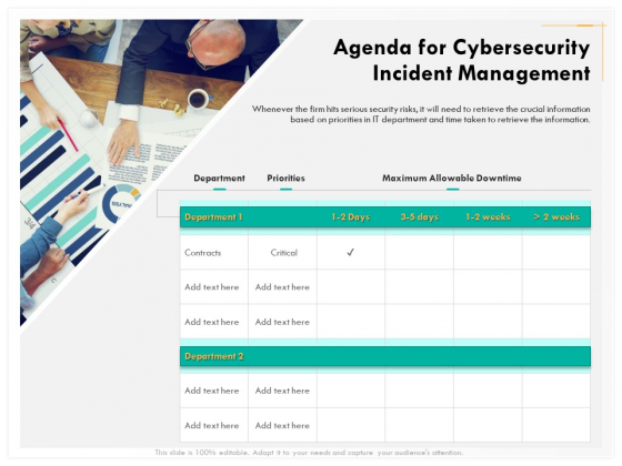 Computer Security Incident Handling Agenda For Cybersecurity Incident Management Template PDF