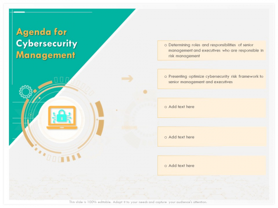 Computer Security Incident Handling Agenda For Cybersecurity Management Slides PDF