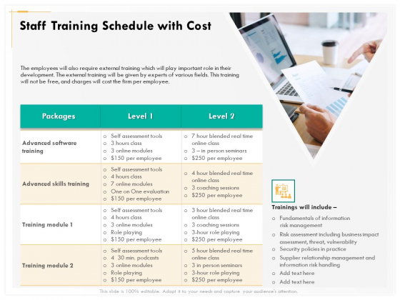 Computer Security Incident Handling Staff Training Schedule With Cost Demonstration PDF