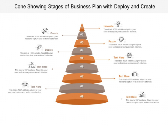 Cone Showing Stages Of Business Plan With Deploy And Create Ppt PowerPoint Presentation File Professional PDF