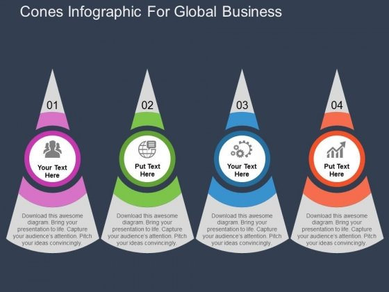 Cones Infographic For Global Business Powerpoint Templates