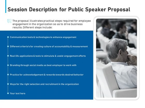 Conference Session Session Description For Public Speaker Proposal Ppt Portfolio Introduction PDF