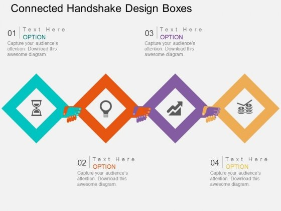 Connected Handshake Design Boxes Powerpoint Template