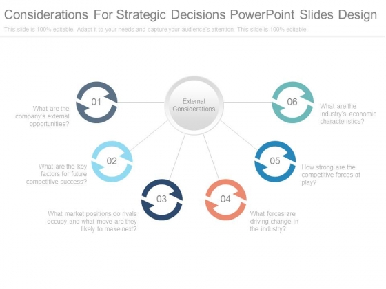 Considerations For Strategic Decisions Powerpoint Slides Design