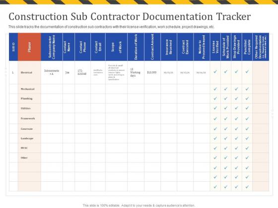 Construction Business Company Profile Construction Sub Contractor Documentation Tracker Elements PDF