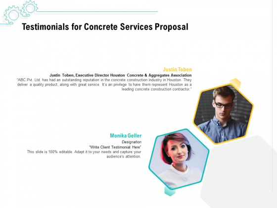 Construction Material Service Testimonials For Concrete Services Proposal Introduction PDF