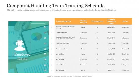Consumer Complaint Handling Process Complaint Handling Team Training Schedule Template PDF