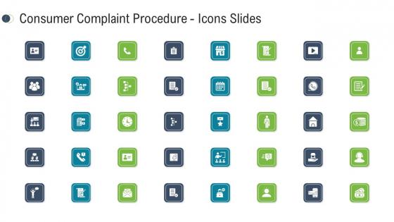 Consumer Complaint Procedure Icons Slides Ppt Portfolio Rules PDF