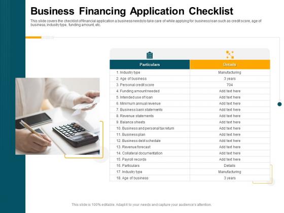 Consumer Lending Procedure Business Financing Application Checklist Ppt Styles Samples PDF