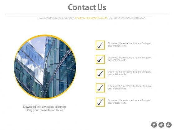 Contact Us Company Details Checklist Design Powerpoint Slides