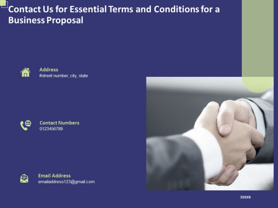 Contact Us For Essential Terms And Conditions For A Business Proposal Ppt PowerPoint Presentation Information PDF