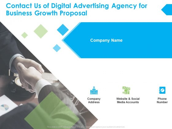 Contact Us Of Digital Advertising Agency For Business Growth Proposal Ppt PowerPoint Presentation Styles Professional