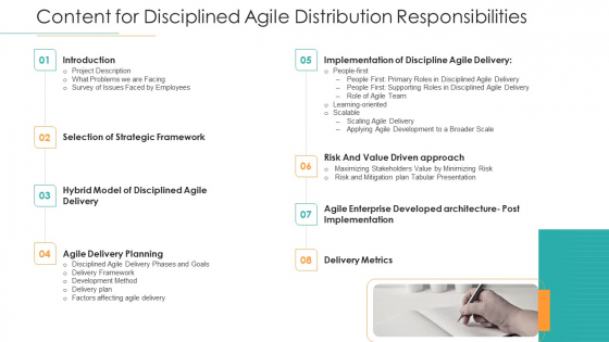Content_For_Disciplined_Agile_Distribution_Responsibilities_Ppt_Gallery_Outline_PDF_Slide_1