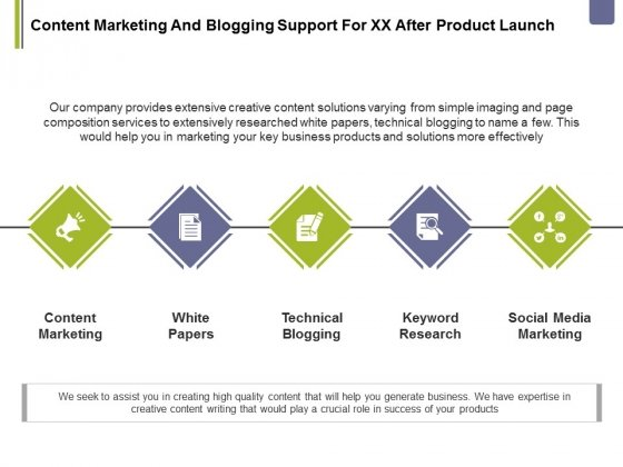 Content Marketing And Blogging Support For Xx After Product Launch Ppt PowerPoint Presentation Icon Portrait