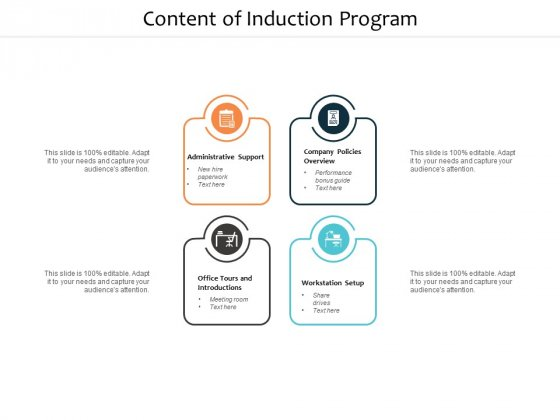 Content Of Induction Program Ppt PowerPoint Presentation Show Information