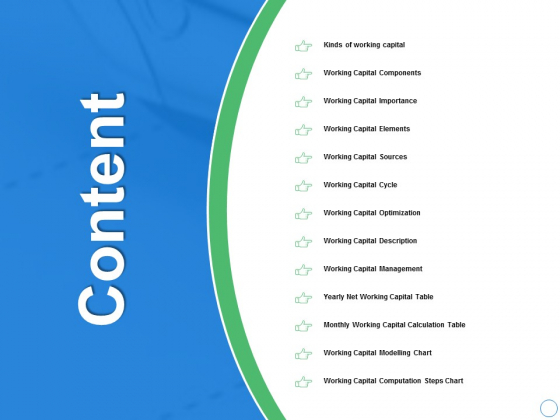Content Working Capital Management Ppt PowerPoint Presentation Infographic Template