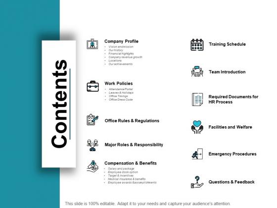 Contents Business Management Ppt PowerPoint Presentation Ideas Pictures