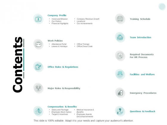 Contents Planning Strategy Ppt PowerPoint Presentation Gallery Templates